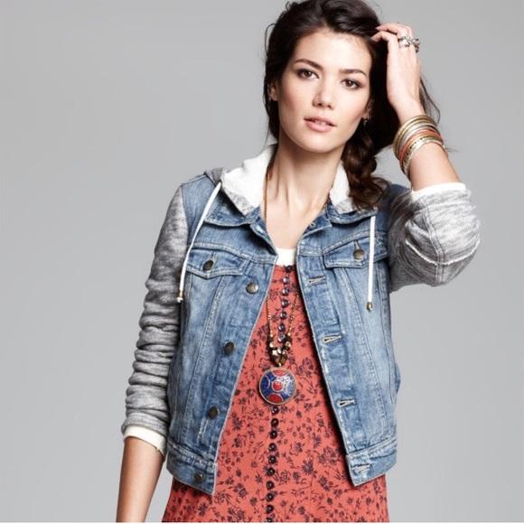 Free People Jackets Coats Denim Jacket W Hoodie Style Small